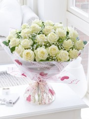 Divine Two Dozen White Roses
