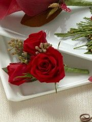Red Spray Rose Boutonniere