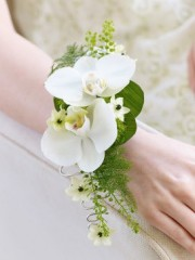 White Orchid and Fern Wrist Corsage
